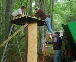 Volunteers installing new mailboxes